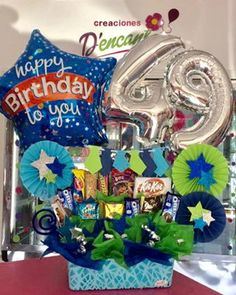 Diy Birthday Box, Birthday Cards, Balloon Flowers, Balloon Bouquet, Letter Balloons, Edible Arrangements, Candy Gifts, Chocolate Gifts, Letters And Numbers