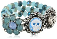 "Betsey Johnson ""Lady Lock"" Skull Cameo and Faceted Bead Half Stretch Bracelet 