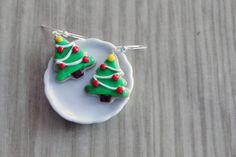 Polymer Clay Miniature Food Jewelry - Christmas Edition Christmas Tree Dangle Earrings