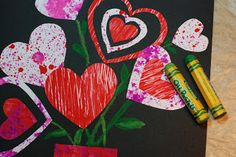 Here is a Valentine Collage project that I did with grade 1 and 2 last year. I was teaching them different painting techniques w. Valentines Art, Preschool Art, Art Classroom, Valentine Decorations, Art Activities, Painting Techniques, Projects For Kids, Art School, Holiday Fun