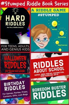 Check out the Stumped Riddle Book Series when you need something to do for parties, family gatherings, zoom meetings, or distraction. Give riddle books out as prizes, or use them for contests. All the riddles are originally written. There are NO regurgitated riddles in the stumped riddle book series! #stumped #stumpedriddles #brainteasers #riddles #parties #partyactivity #videopartyactivity #riddlebooks Purple Party, Blue Party, Party Activities, Party Games, Halloween Riddles, Riddle Games, Hard Riddles, Polka Dot Party, Mindfulness Exercises