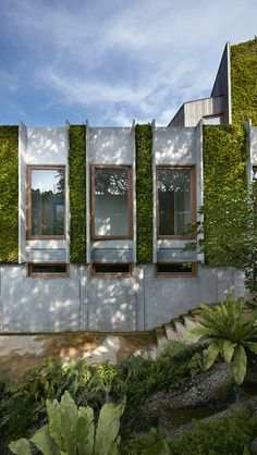 Also designed to be a 'model of sustainable design', the house blends easily with its tropical environment courtesy of its lush green walls