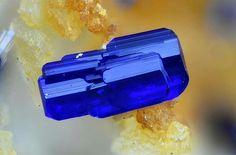 Splendid Azurite crystal from Santa Lucía Mine (Barranco de los Lobos Mine),  Granada, Andalusia, Spain Juan Miguel Segura's Photo   Amazing Geologist