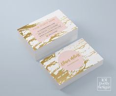 Marble business card white and gold business by 101prettydesigns