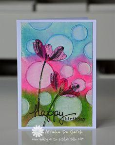 Happy Birthday card using Darkroom Door Full Bloom Vol 1 Rubber Stamps & Simple  Sayings Rubber Stamps. Card by Anneke De Clerck.