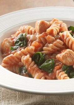 Chicken Rotini Toss can be prepped, cooked, and on the dinner table in less than 30 minutes.  Try this easy pasta dish tonight!
