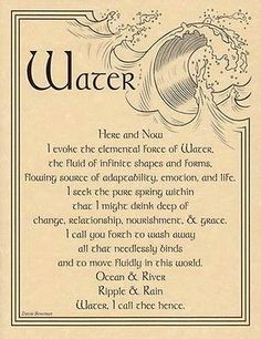 WATER EVOCATION - POSTER A4 SIZE Wicca Pagan Witch Goth BOOK OF SHADOWS