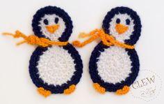 penguin crochet applique