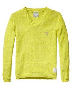 coloured V-neck pull   Pullover   Men Clothing at Scotch & Soda