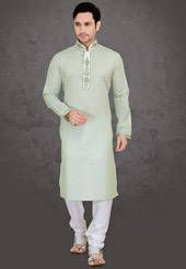 Light Moss Green Cotton Blend Readymade Kurta with Churidar