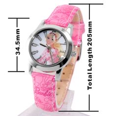 KW058H Új Pink zenekar Kerek PNP Shiny Silver Watchcase Gyermek Watch