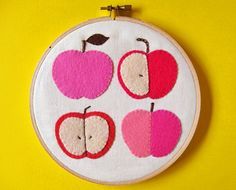 Wall hanging - pink apples felt applique