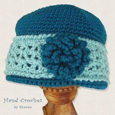Cap / Beanie / Cloche — Yarn Color (Teal and Beach Glass) by HandCrochetbySharon,  $27.00