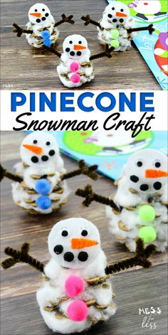 This pinecone snowman craft is easy to make, and can be used in so many different ways. Check out how easy it is to transform an ordinary pinecone into an adorable winter snowman. Pinecone Crafts Kids, Christmas Crafts For Kids To Make, Snowman Crafts, Spring Crafts, Crafts For Teens, Kids Christmas, Holiday Crafts, Pine Cone Crafts For Kids, Christmas Ornament