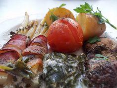 Baconbe tekert spárga krumplival Bacon, Beef, Chicken, Food, Meat, Essen, Meals, Yemek, Pork Belly