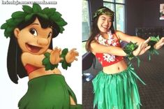 Lilo costume More Mais Diy Lilo Costume, Stitch Costume Diy, Hula Girl Costume, Diy Halloween Costumes For Women, Halloween Outfits, Lelo And Stitch Costumes, Disfraz Lilo Y Stitch, Hawaii Costume, Fantasias Halloween