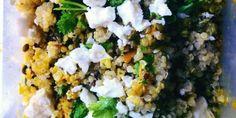 Quinoa met pompoen, linzen en feta