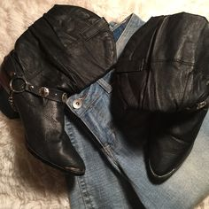 """20% Off Bundles❗️Black Leather Dingo Boots Worn but still in great condition. Genuine leather! They do have small scuffs on the heel, shown in photos. Heels are 2.5"""". Shaft is 9.5"""". Chain is removable. Material is genuine leather, balance is man made material. ✅ Bundle and save on shipping! ✅ All reasonable offers are considered.  ✅ I always ship right away.  ❌ PayPal ❌ Trades ❌ Lowballing Dingo Shoes Heeled Boots"""