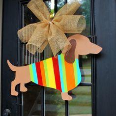 Door Hanger Dog Door Decor Summer Door Hanger by LooLeighsCharm Burlap Crafts, Wood Crafts, Diy Crafts, Burlap Door Hangers, Wooden Cutouts, Dachshund Gifts, Weenie Dogs, Front Door Decor, Lsu