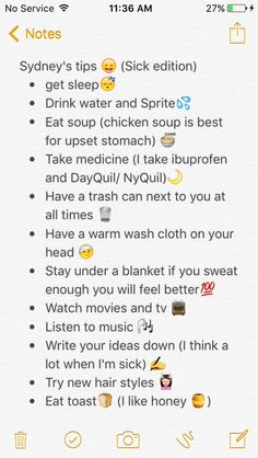 Sydney's tips how to feel better when sick