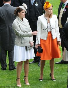 Sister act: Princess Eugenie and Beatrice looked stylish at the prestigious racing event 19 June 2014