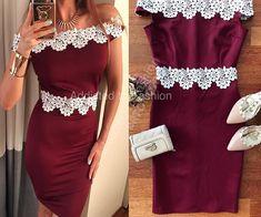 Rochie de seara stramta visinie rosie foarte frumoasa cu broderie alba in forma de flori Peplum Dress, Dresses, Fashion, Tulle, Embroidery, Vestidos, Moda, Fashion Styles, Dress
