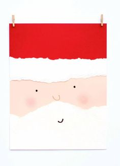 DIY Torn-Paper Santa card has real blush on his cheeks! Kidfolio - the app for parents - kidfol. Homemade Christmas Cards, Noel Christmas, Homemade Cards, Handmade Christmas, Christmas Ideas, Diy Cadeau Noel, Quick Crafts, Navidad Diy, 242