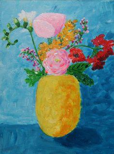 Den gule vase. Akryl på lærred. 18X24cm. Af Katrine Aastrøm Christensen - aastrom.dk #stillife