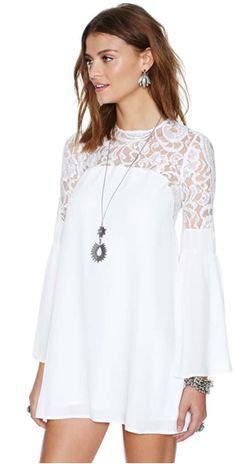 Chiffon&Lace Panel Flower Pattern Keyhole Back Swing Dress Stylish Dresses, Simple Dresses, Casual Dresses, Fashion Dresses, Hoco Dresses, Summer Dresses, Sleeve Dresses, Mini Dresses, Chiffon Dress
