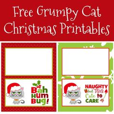 Have fun this holiday season with these free Grumpy Cat Christmas printables! Print on sticker paper for your gift giving and make people smile. Crafty Christmas Gifts, Christmas Decorations For Kids, Christmas Crafts For Adults, Christmas Gift Tags, Christmas Projects, Christmas Photos, Christmas Themes, Christmas Holidays, Craft Projects For Kids