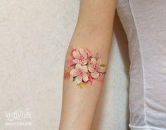 벚꽃 수채화 타투 디자인 by 타투이스트 리버. Cherry blossom tattoo design. 벚꽃 타투. 수채화 타투. 컬러타투. 분당 타투