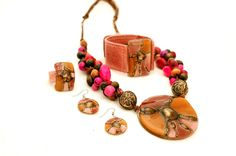 Collar Amazonas - Aros Básicos - Anillo VitroCuero - Brazalete 3 cm (Color Nro 51 )