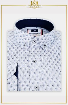 Doctor Junior Boys Slim fit Patterned White Blue Smart Shirt - My Website 2020