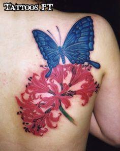 tattoo Borboleta e flor vermelha, tatuagem Borboleta e flor vermelha