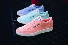 Reebok Classic's iconic tennis silhouette, the Club C, gets revamped in seasonally appropriate pastel colorways for Spring 2016.