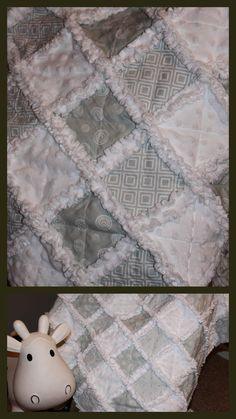 Grey and White Baby Rag Quilt - Gender Neutral baby Rag Quilt ... : gender neutral quilts - Adamdwight.com