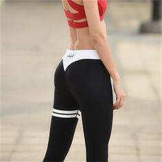 Ayopanda Grey Letter Print Yoga Tights Black And White Collision Women  Fitness Sport Leggings High Elastic 1c52b99df2