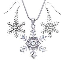 Winter White Snowflake Pendant Necklace Earrings Bridal Wedding Bridesmaid Prom Christmas Gift