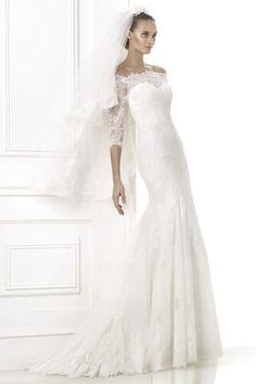 2015 Super Wedding Dress 3/4 Length Sleeve Mermaid/Trumpet With Applique Tulle USD 259.99 EPP6EH49JX - ElleProm.com