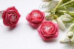 Amazing hand sculpted white and pink flowers Ranunculus earrings and ring set