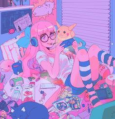 Image about illustration in 𝓲𝓵𝓵𝓾𝓼𝓽𝓻𝓪𝓽𝓲𝓸𝓷 ✿ by 𝔃𝓸𝓮 ☾☽ Uploaded by 𝔃𝓸𝓮 ☾☽. Find images and videos about illustration, neon and digital art on We Heart It – the app to get lost in what you love. Art Kawaii, Kawaii Anime, Cartoon Kunst, Cartoon Art, Persona 5, Aesthetic Anime, Aesthetic Art, Bel Art, Japon Illustration