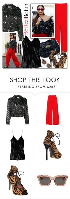 """be real, be fun"" by arethaman ❤ liked on Polyvore featuring Ashley Graham, Yves Saint Laurent, STELLA McCARTNEY, T By Alexander Wang, Tabitha Simmons, Christian Dior, GetTheLook, StreetStyle and redandblack"