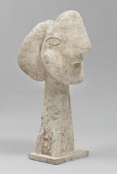 Head of a Woman  Pablo Picasso (Spanish, 1881-1973)  Boisgeloup, 1932. Plaster, 52 1/2 x 25 5/8 x 28""