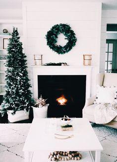 : A Simple Christmas home design. Noel Christmas, Simple Christmas, Christmas Fireplace, Modern Christmas, Rustic Christmas, Beautiful Christmas, Christmas Palace, Skinny Christmas Tree, Pencil Christmas Tree