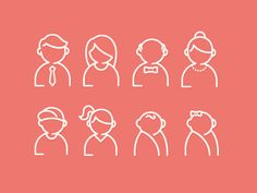 Family Icon Set by Audrey Axt on Dribbble Family Illustration, Line Illustration, Illustrations, Web Design, Icon Design, Flat Design, Book Quotes About Life, Icons Web, Face Icon