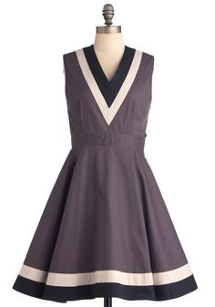 Top Ten Dress by Dear Creatures - Mid-length, Grey, Black, White, Color Block, A-line, Sleeveless