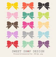 50+Off+Sale++Bows+Clip+Art+Printable+Clip+Art+by+SweetShopDesign,+$2.25
