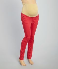 Loving this Red Over-Belly Maternity Skinny Pants on #zulily! #zulilyfinds
