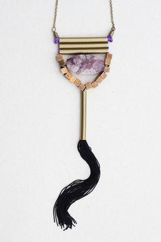 Necklace Quartz with Silk Fringe, by Mimi Scholer