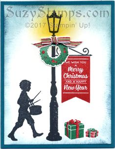 Stampin' Up! Cards - Class - Brightly Lit Christmas stamp set and Christmas LampPost Thinlits Dies Merry Chistmas, Wish You Merry Christmas, Stampin Up Christmas, Holiday Cards, Christmas Cards, Christmas Ornaments, Holiday Decor, Christmas Lamp Post, Holidays 2017